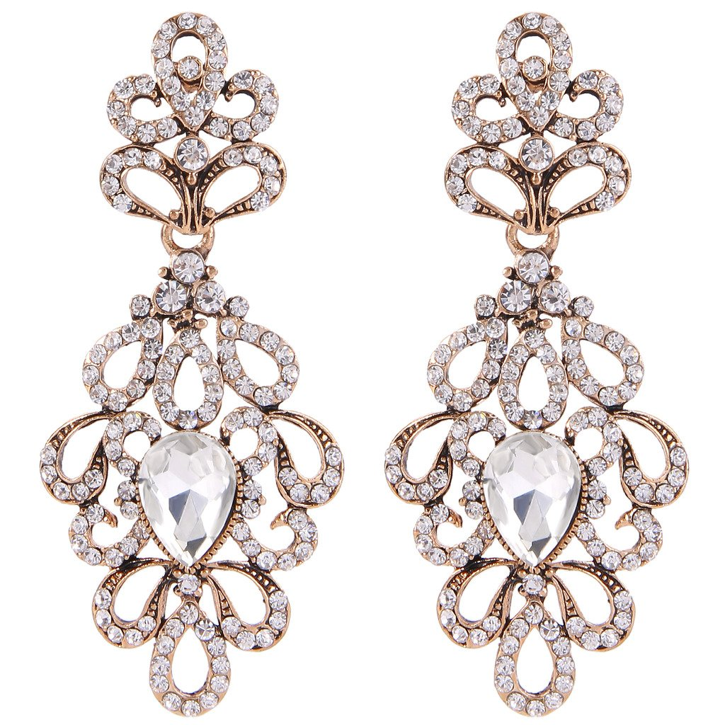 BriLove Women's Wedding Bridal Dangle Earrings Vintage Style Floral Hollow Crystal Teardrop Chandelier Earrings Clear Antique-Gold-Toned