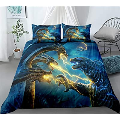 GD-Clothes Godzilla Duvet Cover-Kids 3 Piece Duvet Cover Set-Gojirasaurus Duvet Cover Soft and Breathable Comforter Cover with Pillowcase: Kitchen & Dining