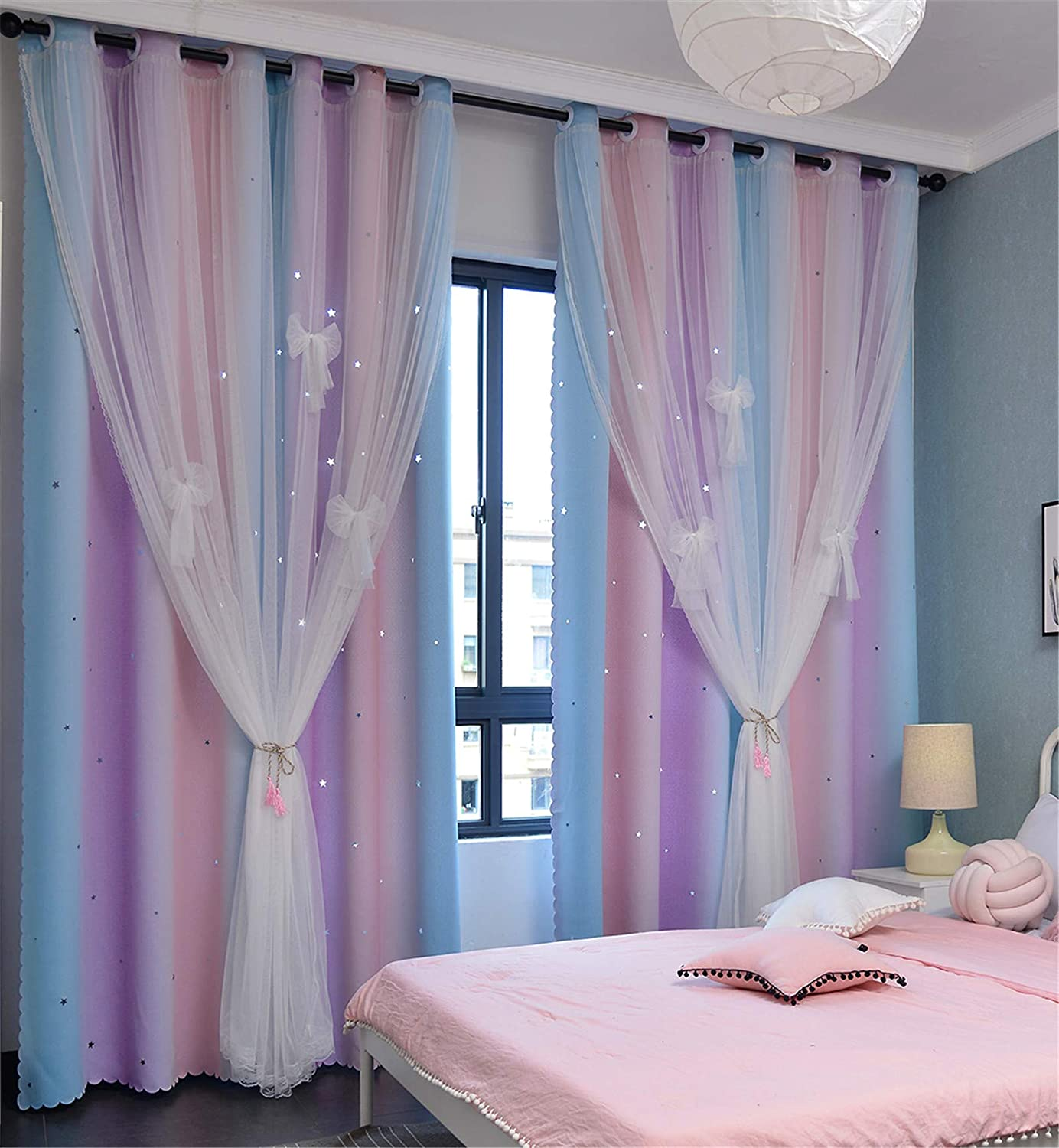 Room Darkening Blackout Star Kids Curtains 84 inches Long Lace Drapes 2 Layers Window Panels Bedroom Living Room Decor Divider (Pink Purple Green, W52 X L84)