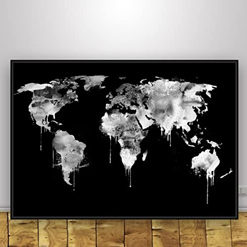 Black and white world map unique design poster print traveler black and white world map unique design poster print traveler geography art modern large gumiabroncs Choice Image