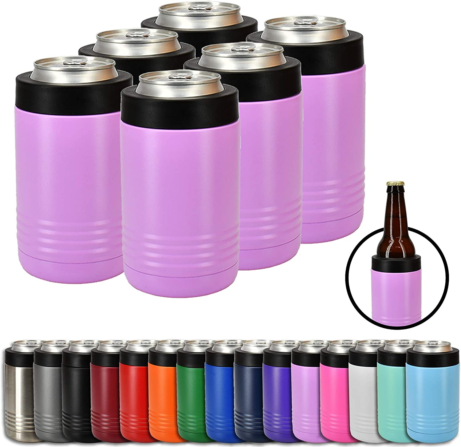 Clear Water Home Goods - 12 oz Stainless Steel Double Wall Vacuum Insulated Can or Bottle Cooler Keeps Beverage Cold for Hours - Powder Coated Light Purple - 6 Pack