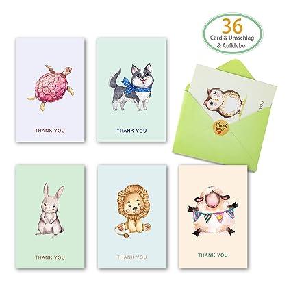 36 tarjetas de felicitación (6 diseños) con 36 sobres y 36 ...