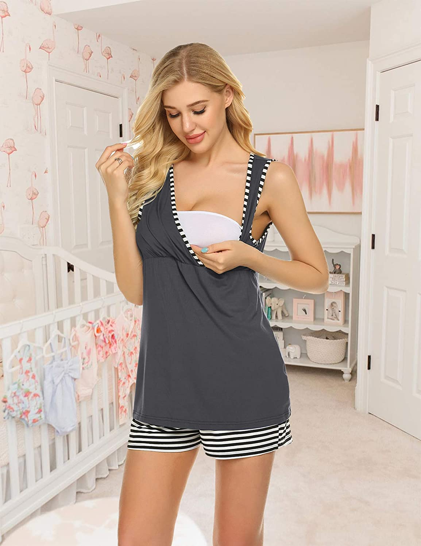 Ekouaer 3 in 1 Labor Delivery Nursing PJS Maternity Nursing Pajamas Shorts Set Stripe Pregnancy Breastfeeding Sleepwear