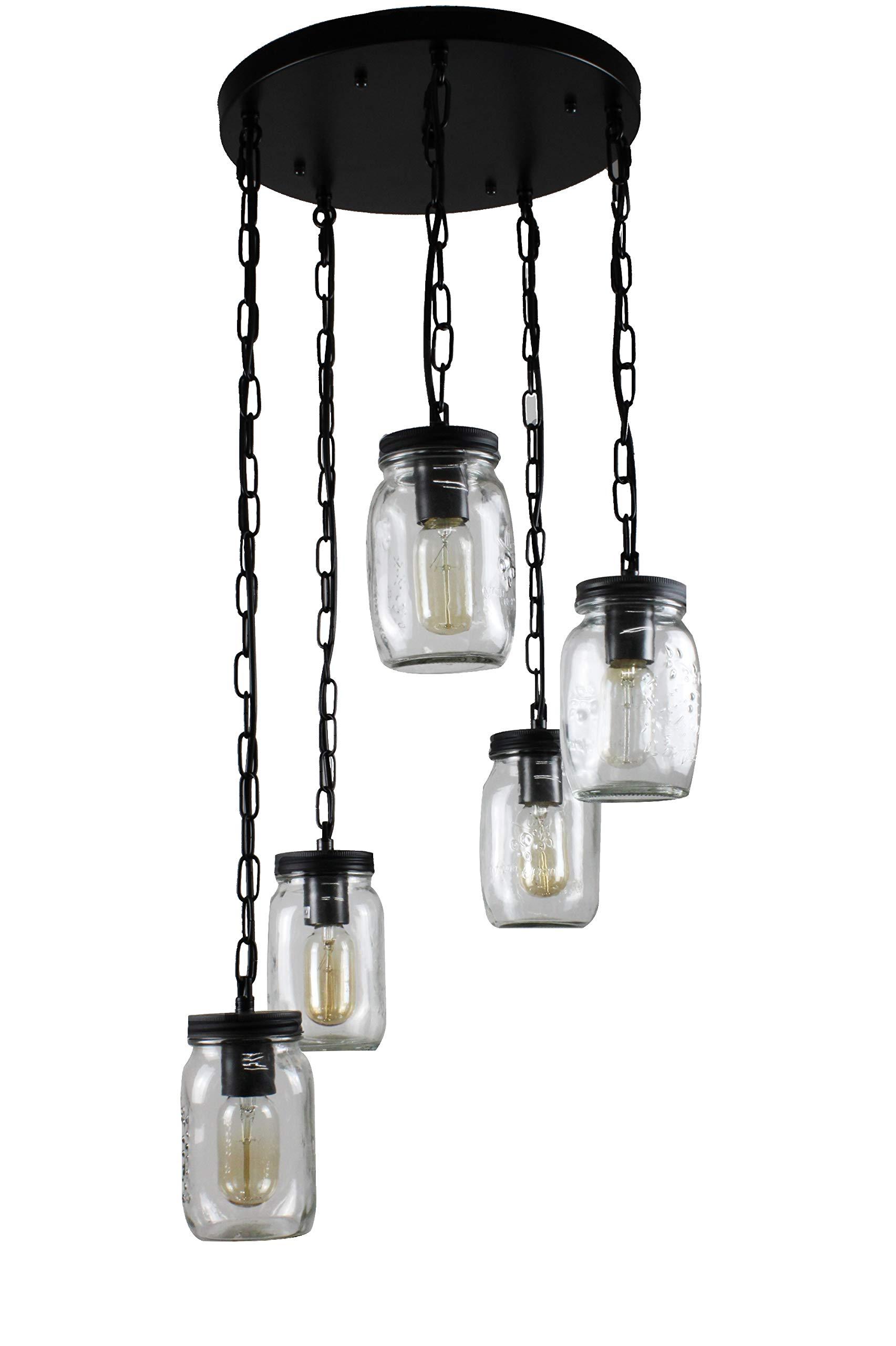 Modern Mason Jar Kitchen Island Lighting 5-Light Glass Chandelier Pendant Lighting Adjustable Hanging Height by BellaDepot