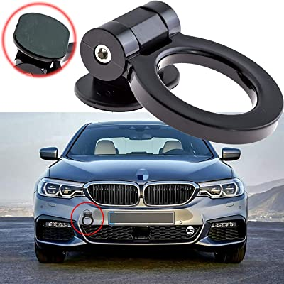 Xotic Tech Car Decoration JDM Track Racing Stick On Towing Hook Ring Look Decor for Car Trunk - Black: Automotive
