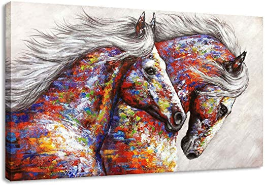 Best Gift Home Art Wall Decor Two Horses Run Painting Picture Printed On Canvas