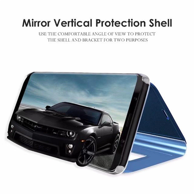 Tianyan Funda para Huawei P Smart,Espejo Clear View Flip Cover Carcasa Plegable Soporte,Cierre Magn/ético Funda para Huawei P Smart,Negro