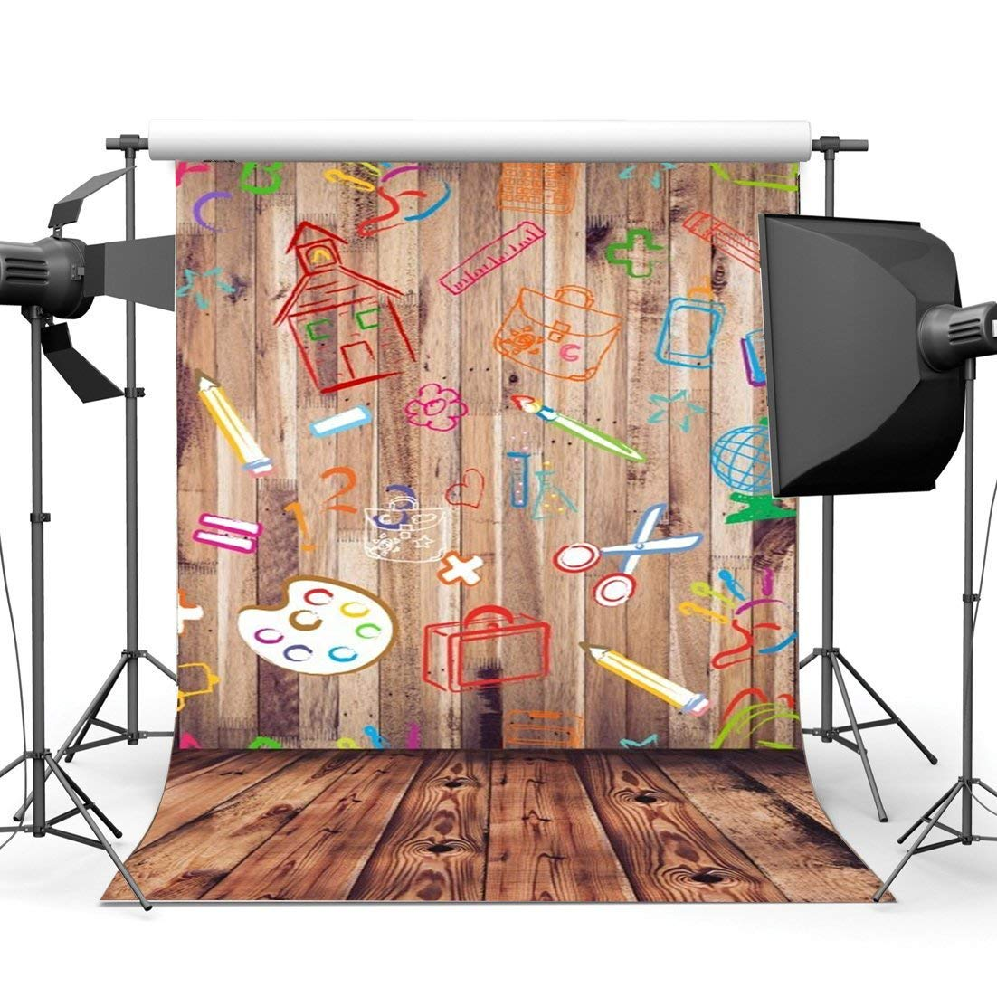 Gladbuy Back to School Backdrop 3X5FT Vinyl Graffiti Artistic Hand Chalk Drawing on Wood Plank Backdrops Stripes Wood Floor Photography Background for Boys Girls School Party Photo Studio Props BL44