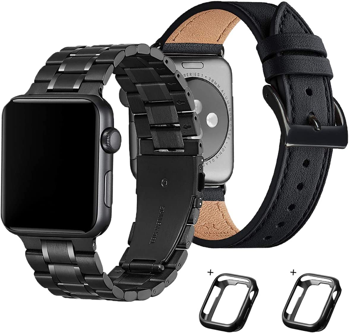 Bestig Compatible for Apple Watch Band 42mm 44mm Stainless Steel Link Strap with Black Leather Band for iWatch 5/4/3/2/1