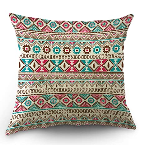 Funda de almohada azteca Estilo bohemio étnico Colorida flor ...
