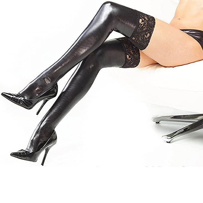 0d054548fa4 SmallDragon Women s Lingerie Black Lycra Wet Look Thigh High Stockings With  Lace Back  Amazon.ca  Clothing   Accessories