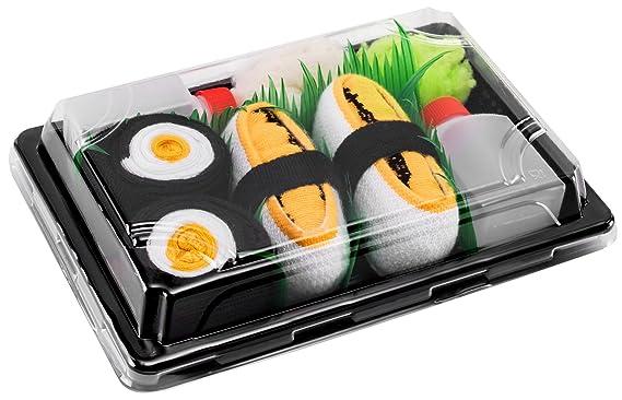Sushi Socks Box - 2 pares de CALCETINES: Nigiri Tamago Maki de Oshinko - REGALO DIVERTIDO, Algodón de alta Calidad|Tamaños 41-46, Certificado de OEKO-TEX, ...