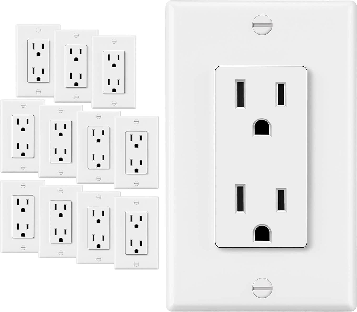 12 Pack - ELECTECK 15A Decor Receptacle Outlet with Wall Plate, Non-Tamper-Resistant, Commercial Grade, UL Listed, White