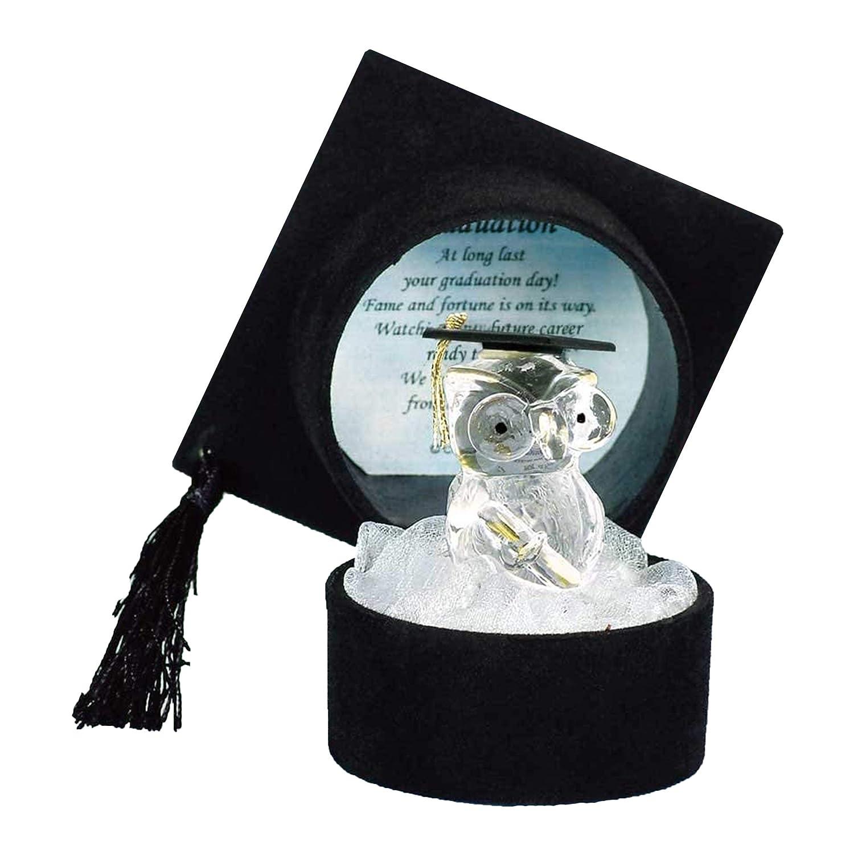 con Gufo di Cristallo Parmy Regalo di Laurea universit/à Universitaria Cappello di Laurea Nero