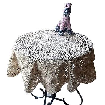 Newrara Vintage funda para mesa mantel de Mantel de encaje de ganchillo hecho a mano redondo, algodón, beige, Diameter: 43.3 inch: Amazon.es: Hogar