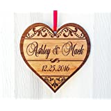 Personalized Heart Love Christmas Ornament Gfit for Anniversary, Valentines Day, Christmas, Pet, Engagement, Babys First, Couples Mom Dad, Fiance, Wedding