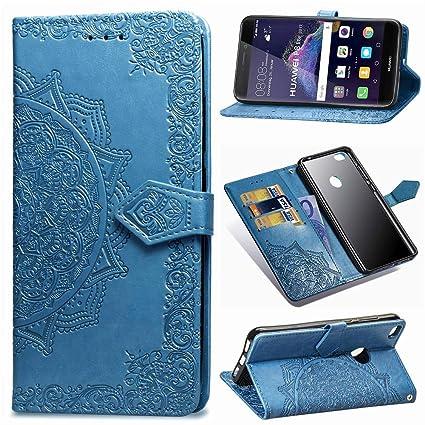 Funda para Huawei P8 Lite 2017, Carcasa Libro con Tapa Flip Case Antigolpes Golpes Cartera PU Cuero Suave Soporte con Correa Cordel - Mandala Azul