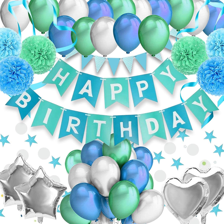 RIIMUHIR Globos Cumpleaños Estandarte Globos de Cumpleaños Decoración de Fiesta Temática Azul Fiesta de Globos Globos Papel de Aluminio Corazón Estrella