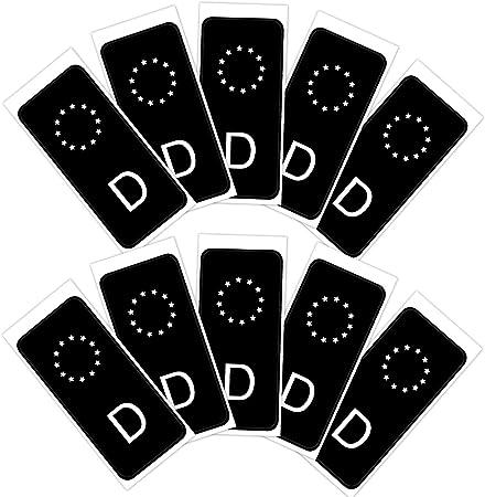 Anladia 10 Stk. Juego de Pegatinas para matrícula, Color Negro, para tunear el Campo de la UE, en Este Momento la Tendencia en la Escena de Tuning: Amazon.es: Coche y moto