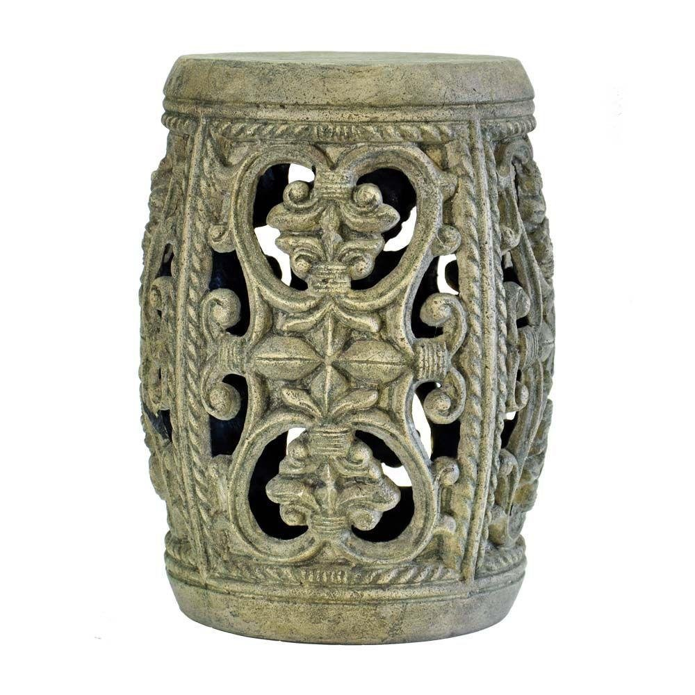 19 in. H Cast Stone Garden Stool in Granite Finish