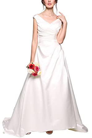 97bf03ceb72 ANGVNS Women 2017 A-Line V Neck Backless Satin Maxi Wedding Dress Bridal  Gown (