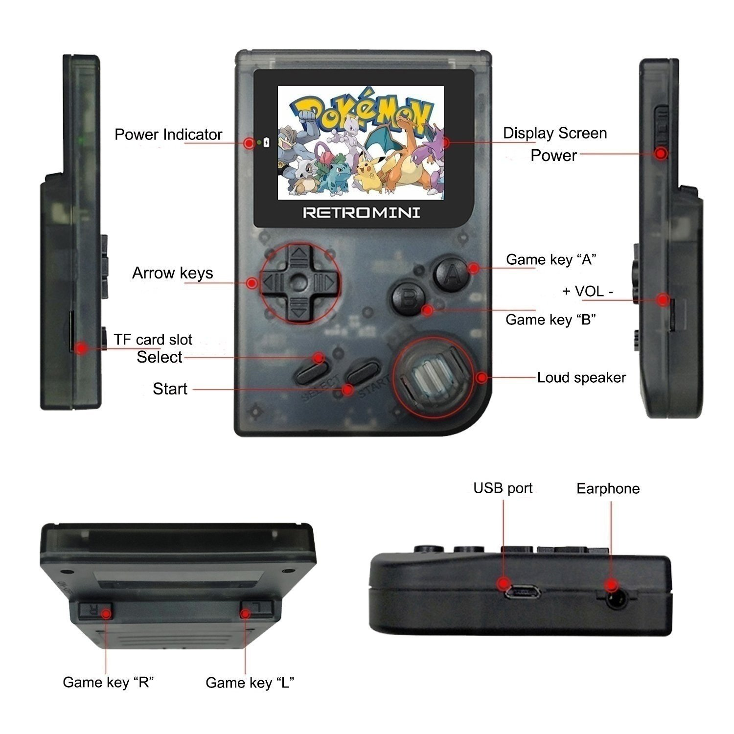 SODIAL Retro Game Console 32 Bit Portable Mini Handheld Game Players Built-in 940 for GBA Classic Games Best Gift for Kids Black by SODIAL (Image #5)