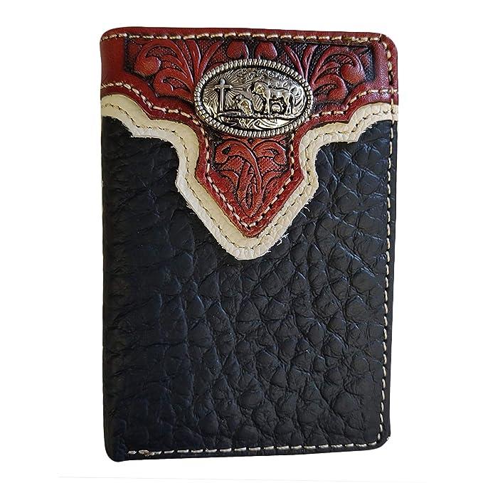 Amazon.com: Billetera de piel auténtica para hombre, diseño ...