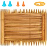 RELIAN Double Pointed Knitting Needles, 75 Pcs Bamboo Knitting Needles Set, 15 Sizes from 2.0mm-10.0mm(8 Inches Length…