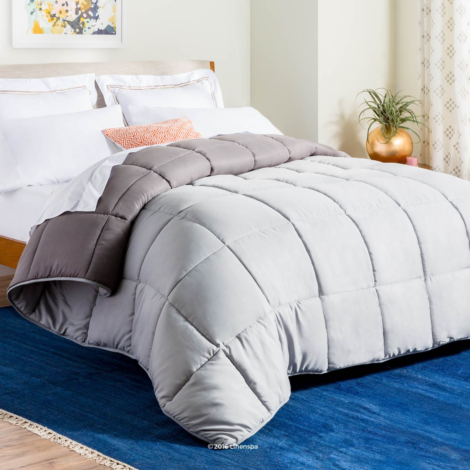 Linenspa All-Season Reversible Down Alternative Quilted Comforter - Corner Duvet Tabs - Hypoallergenic - Plush Microfiber Fill - Box Stitched - Machine Washable - Stone/Charcoal - Twin XL