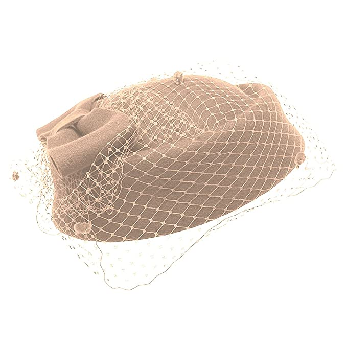 1940s Hats History Aniwon Wool Pillbox Hat Retro British Style Cocktail Party Wedding Fascinator Veil Hat for Women $25.98 AT vintagedancer.com