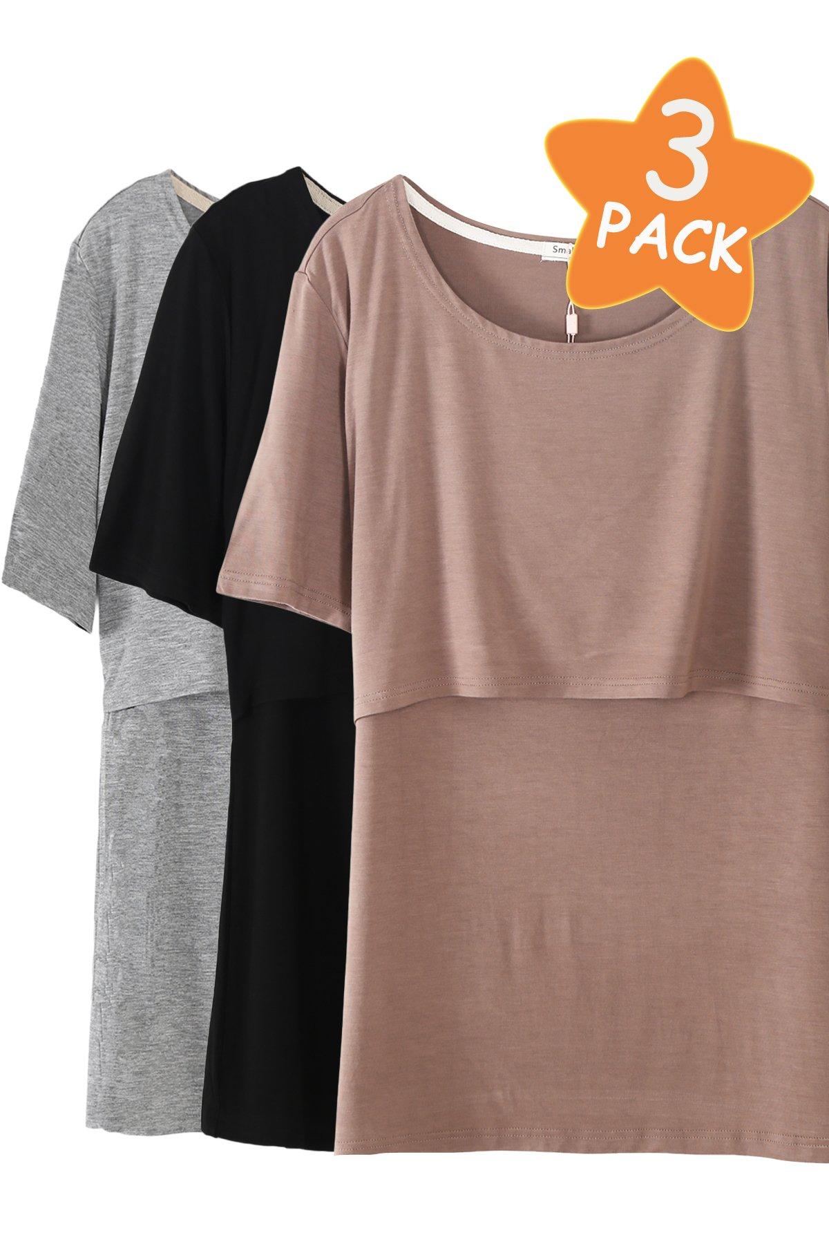 Smallshow 3 Pcs Maternity Nursing T-Shirt Modal Short Sleeve Nursing Tops Brown-Black-Grey,Large