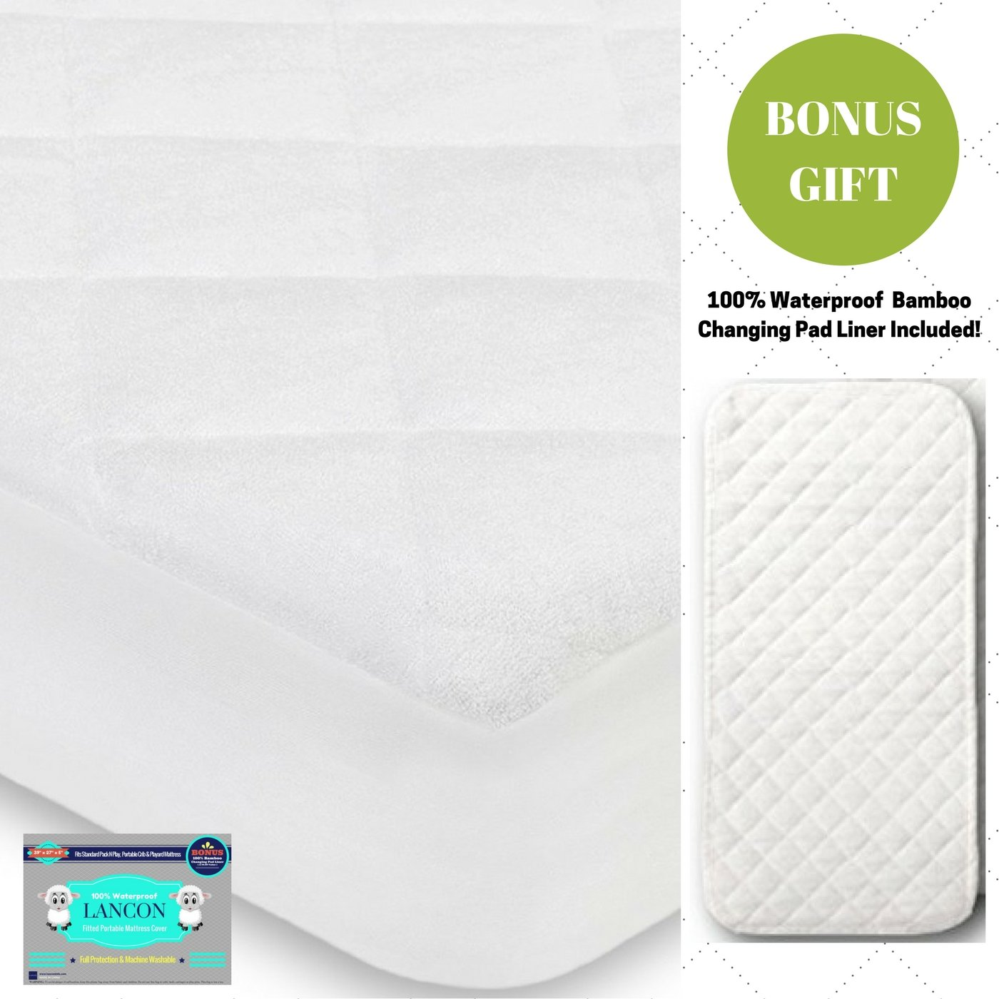 Organic Crib Mattress Pad Cover + BONUS Changing Pad Liner Included! – Waterproof, Hypoallergenic, Fitted with Ultra Soft Bamboo Quilted Top - Fits ALL Standard Crib Mattresses