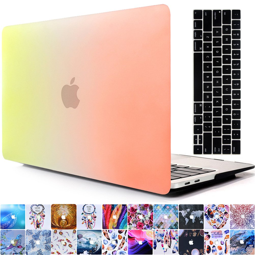 AY0070 Macbookシリーズ用ケース + キーボードカバー プロテクター 2016 Macbook 13 Pro With/Without Touch Bar AY0070-2016 13pro-RB Yellow&Orange B01N7GO60W 2016 Macbook 13 Pro With/Without Touch Bar,Rainbow Yellow&Orange