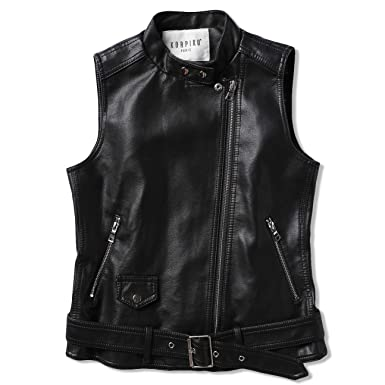 eee74a663a71 Image Unavailable. Image not available for. Color: blackmogoo Womens  Sleeveless Zip Up Faux Leather Jacket Vest Biker Motorcycle Coat