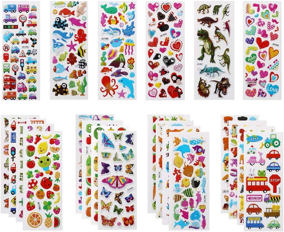 Vicloon Pegatinas para niños 500+, 22 Hojas Diferentes Pegatinas 3D, Stickers Infantiles para Bullet Journal Scrapbooking Incluye Animales, Peces, Dinosaurios, Números, Frutas, Aviones y Más