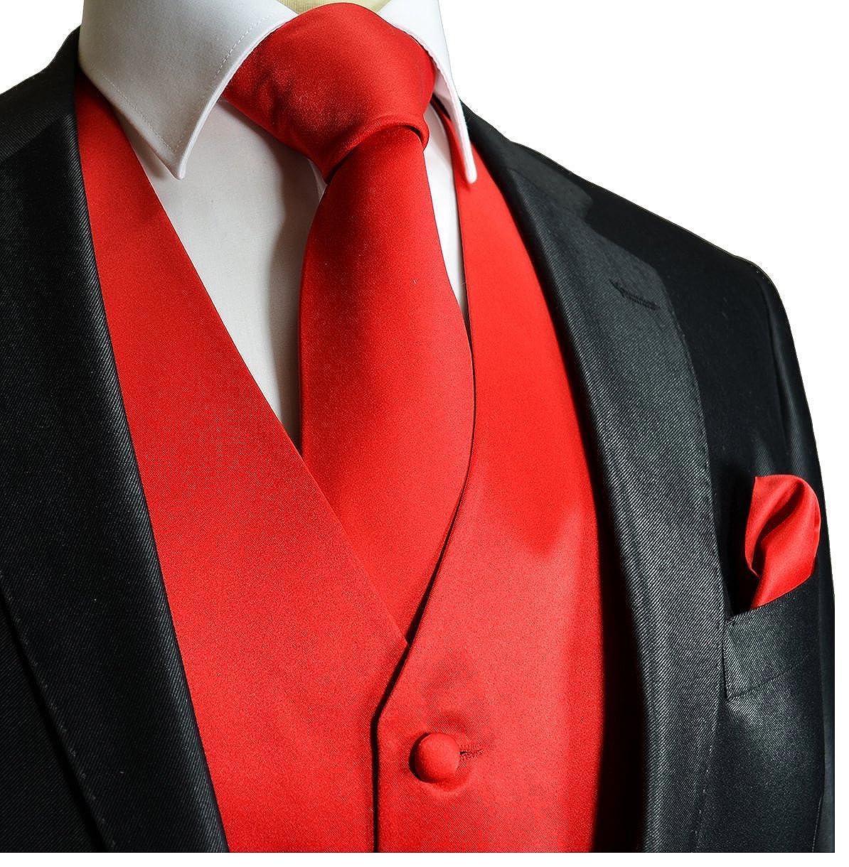 Brand Q Wedding Vest Set Solid Red 3pcs Tuxedo Vest Necktie Handkerchief XS
