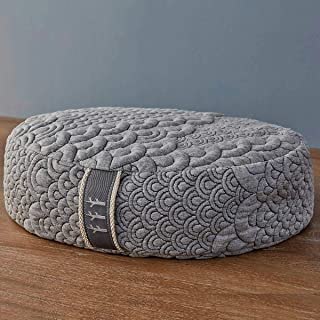 product image for Brentwood Home Crystal Cove Meditation Cushion, Buckwheat Zafu Oval Floor Pillow, Made in California