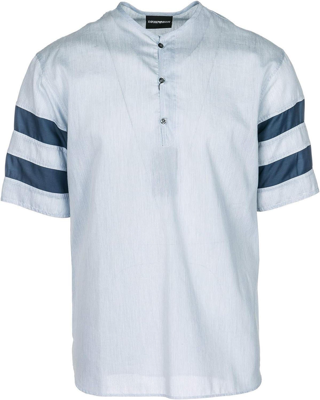 Emporio Armani Hombre Camisa de Manga Corta Azzurro M: Amazon.es: Ropa y accesorios