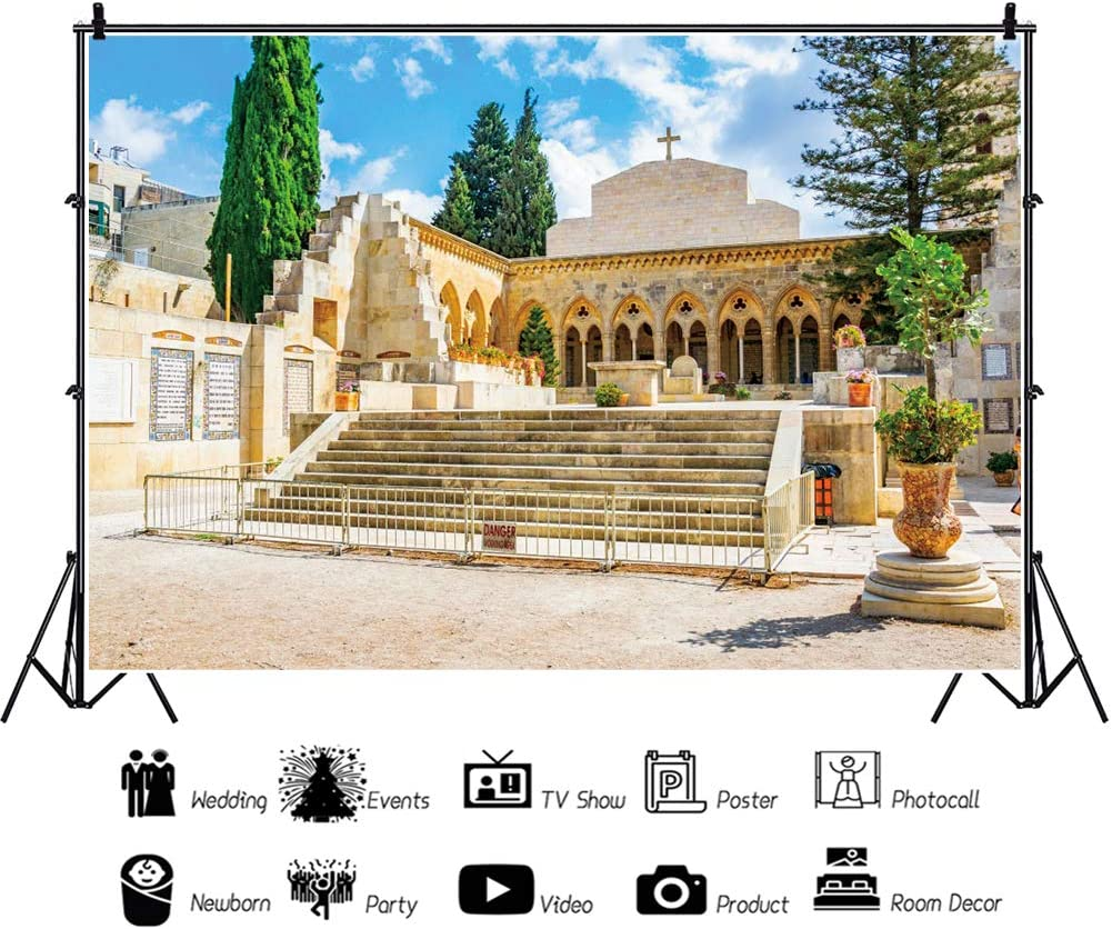 YEELE 12x8ft Middle East Church Backdrop Ancient Architecture in Jerusalem Photography Background Middle East City Landscape Kids Adults Artistic Portrait Photoshoot Studio Props