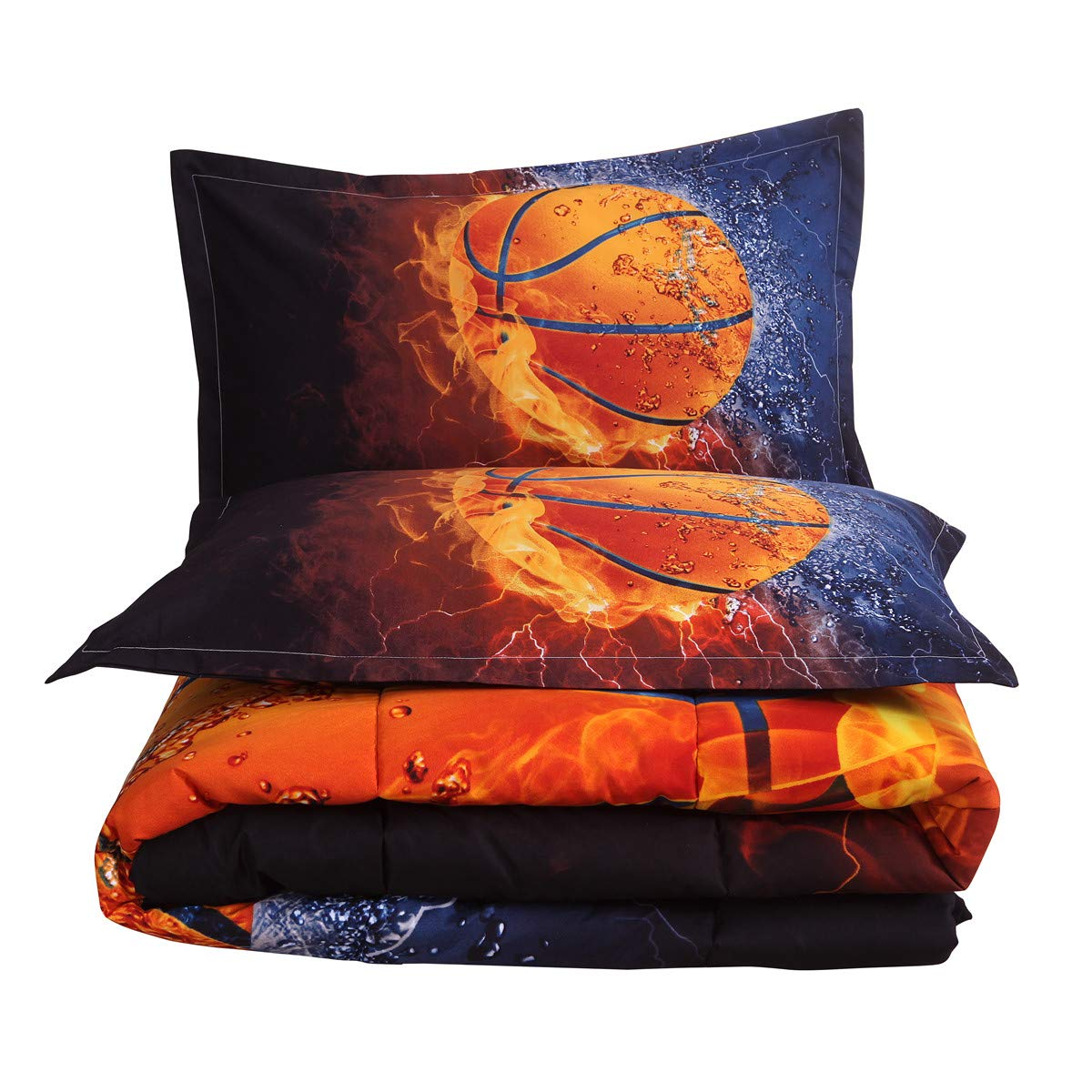 NTBED Basketball Comforter Sets for Boys Teens Sports Bedding Reversible Printed Quilt Set Full with 2 Matching Pillowcases