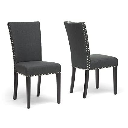 Charmant Baxton Studio Harrowgate Linen Modern Dining Chair, Dark Gray, Set Of 2
