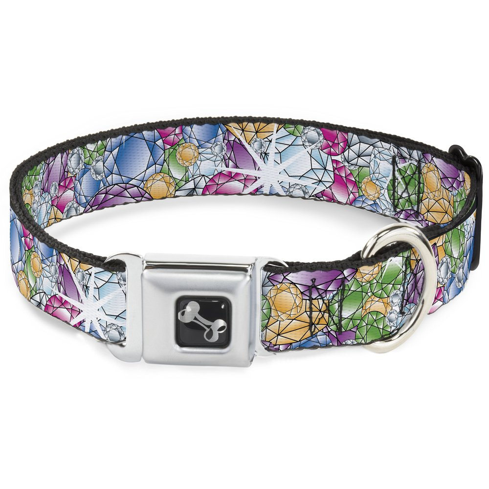 Buckle-Down Seatbelt Buckle Dog Collar Gems Stacked Multi color 1.5  Wide Fits 16-23  Neck Medium