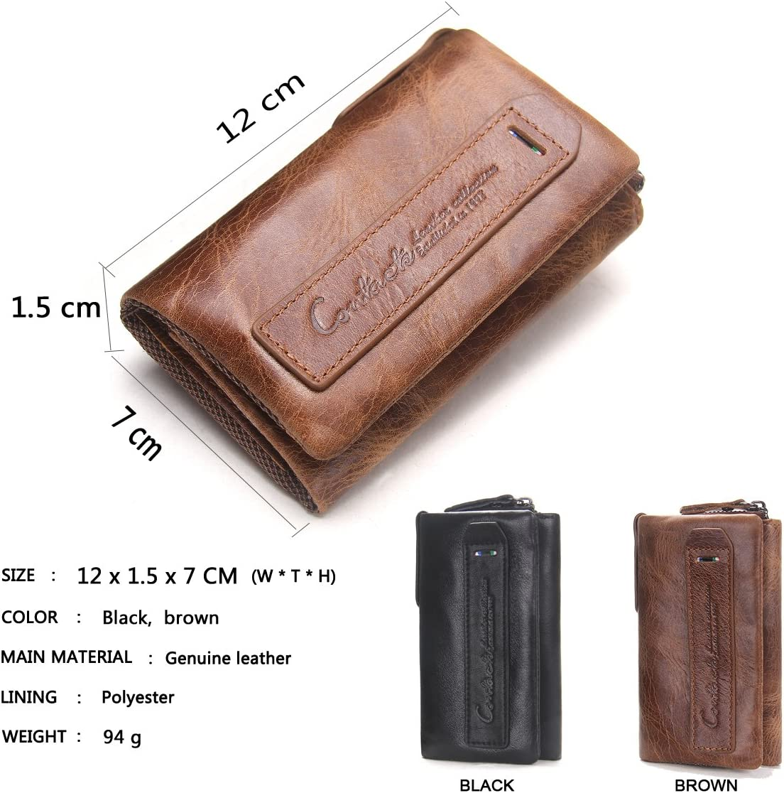 Marron Contacts Femmes V/éritable Carte en Cuir Porte-Cl/é Zipper Coin Clutch Portefeuille Portefeuille