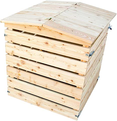 Compostador de madera maciza con tapa, FSC Alerce, fácil montaje, madera Kom Póster