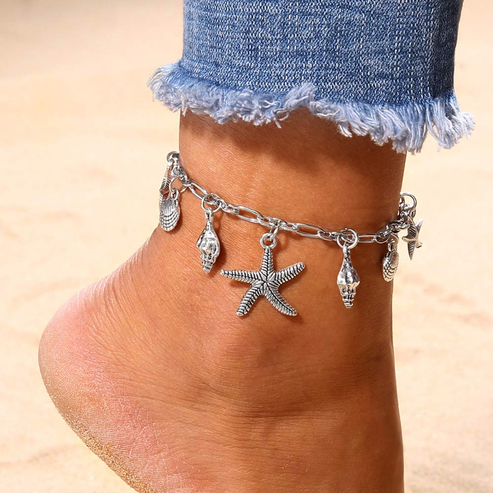 Anklets for Women,Fashion Women Starfish Sea Turtle Wave Shell Anklet Beach Foot Ankle Bracelet Sea Wave