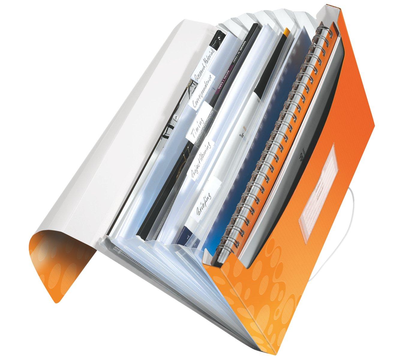 Leitz, Archivio a soffietto, Formato A4, 6 fogli espandibili con etichette, Con chiusura a elastico, Polipropilene, Blu metallizzato, WOW, 45890036
