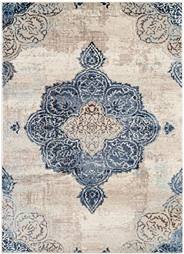 7101 Distressed Ivory 5 x 7 Area Rug Carpet Large