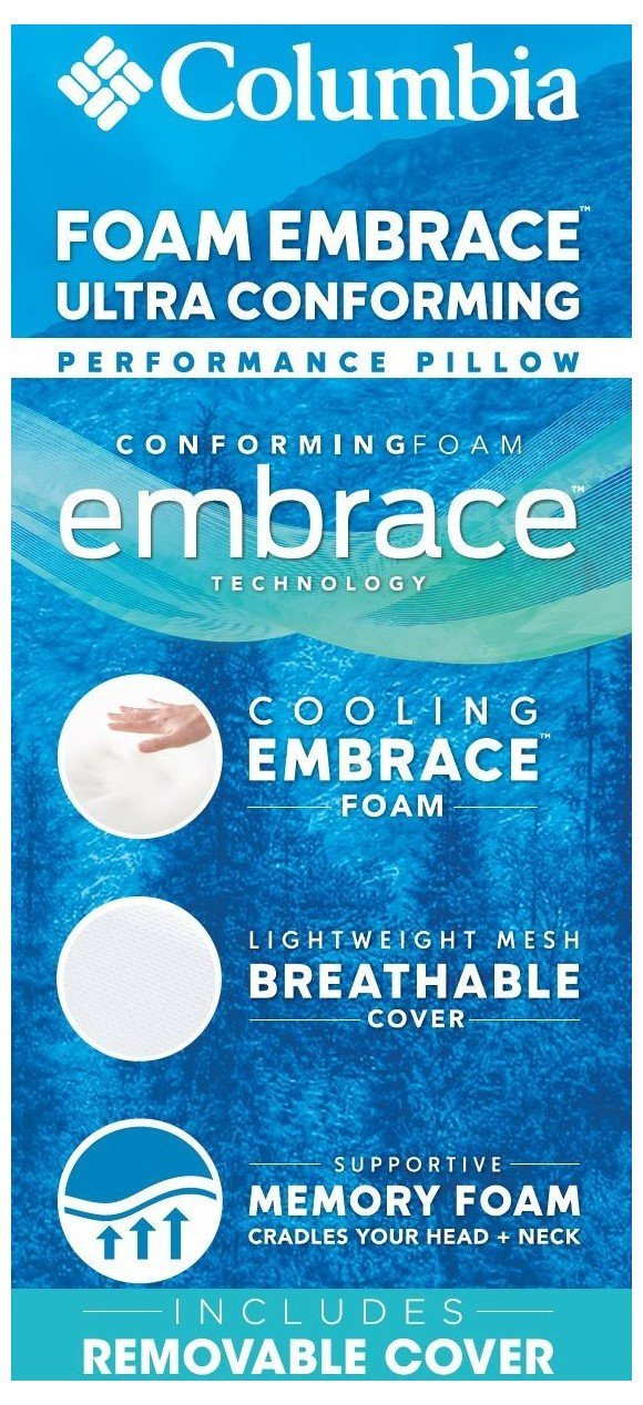 Neck Pain Relief for Side /& Back-Stomach Sleepers Removable Washable Zip-Off Breathable Hypo-Allergenic Cover CertiPUR-US- Standard//Queen Size Columbia Cooling Memory Foam Embrace Luxury Pillow