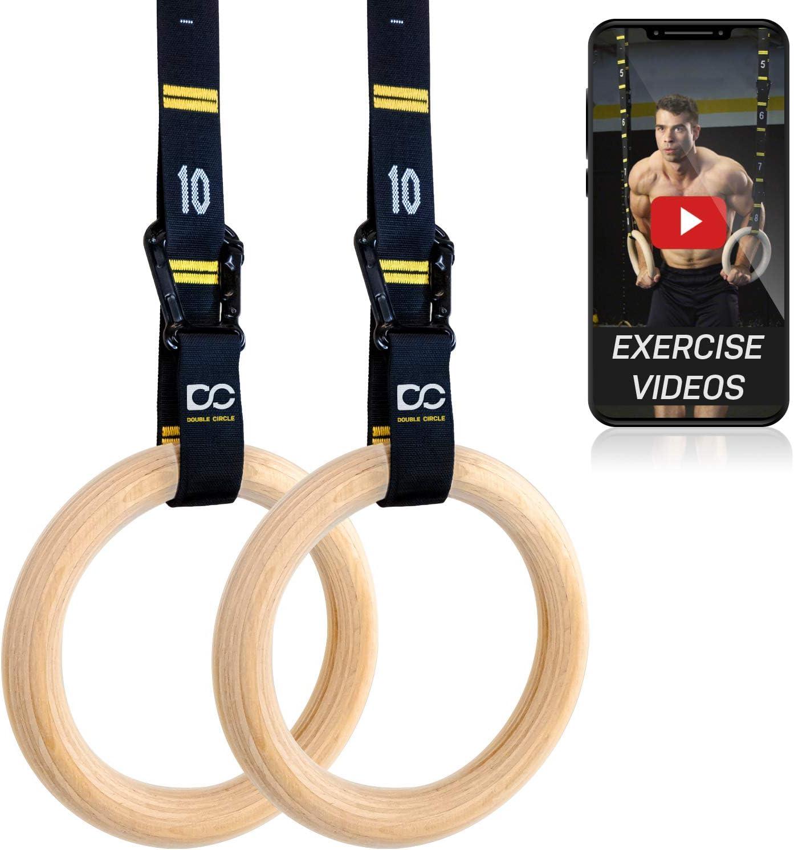 Double Circle 体操用木製リング+コンペティションストラップ&Eブック - ジム、クロスフィット、ボディウェイトトレーニング用の体操器具、高品質で耐久性のある数字付きストラップですぐに使用可能