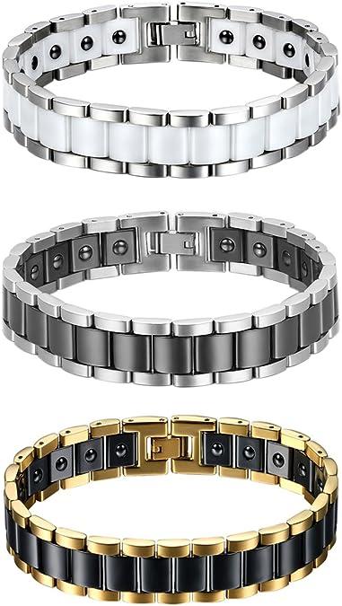 Jewelrywe 3pcs Homme Bracelet magnétique, acier inoxydable - Céramique, Fashion I Rectangle Link Bracelet magnétique Bracelet jonc, argent or noir blanc